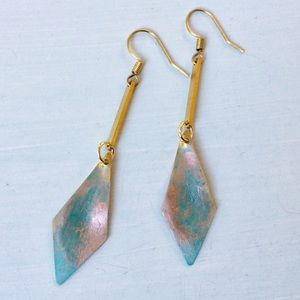 Handcrafted Patina Earrings +Anthropologie Bag NEW